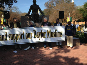 Recent rally in support of Baylor Muslims