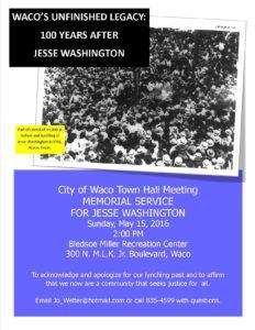 Jesse Washington Memorial Service Flier